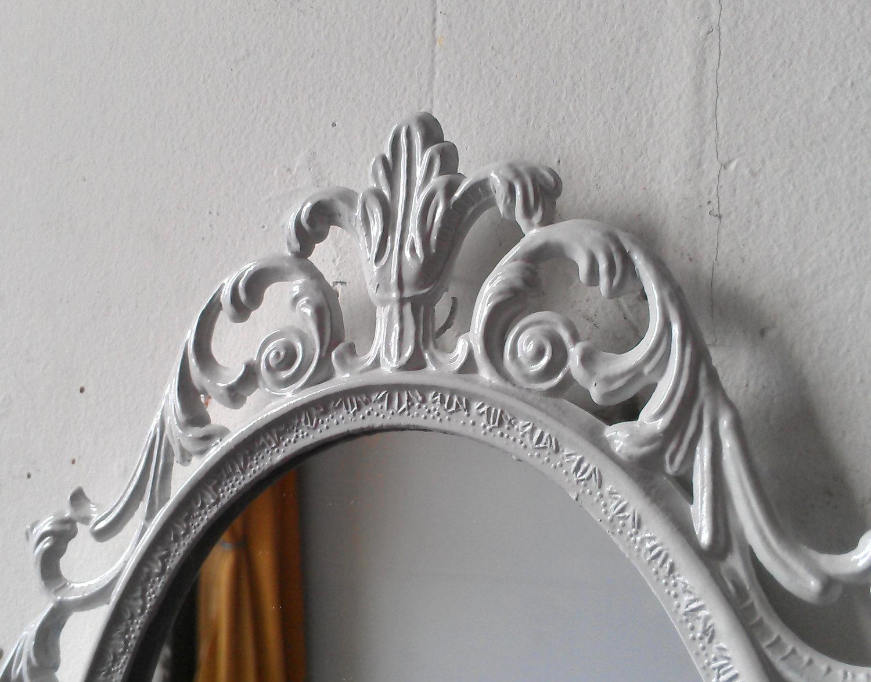 White Princess Mirror Ornate Vintage Oval Framed Mirror 10 Regarding Ornate White Mirrors (View 16 of 20)