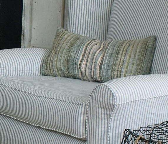 & White Striped Fabric Classic Sofa & Oversize Chair With Blue And White Striped Sofas (Photo 2 of 20)