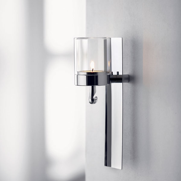 White Wall Sconce Candle Holders Axiomatica With Wall Mounted Candle Chandeliers (Image 24 of 25)