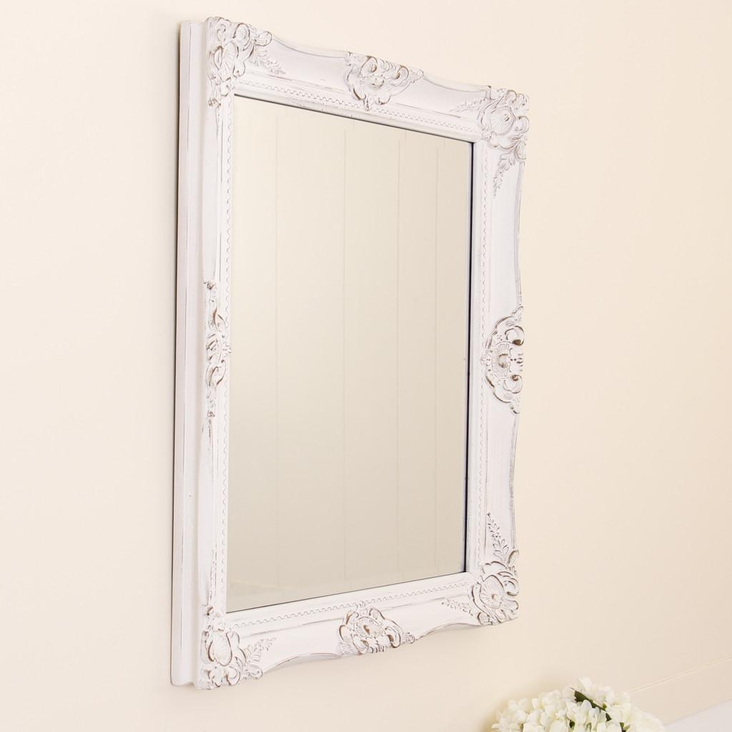 White Wooden Shabby Chic Wall Mirror Regarding White French Mirror (Image 20 of 20)