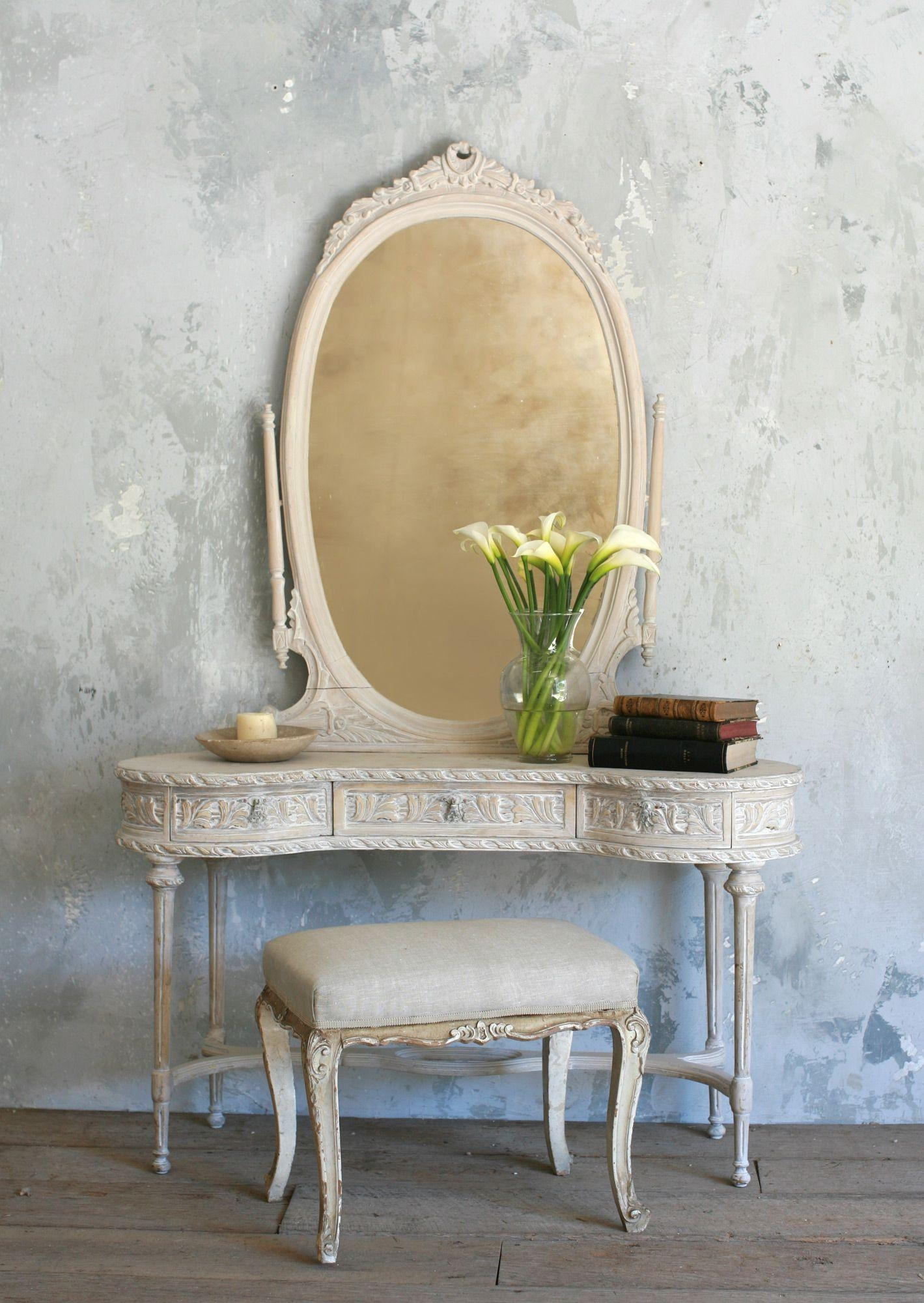 White Wooden Vanity With Many Drawers Also Oval Mirror With White Throughout Antique White Oval Mirror (Image 20 of 20)