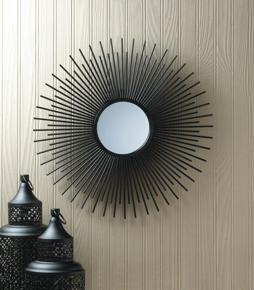 Wholesale Black Wrought Iron Bursting Sun Wall Mirror: Modern Iron Inside Black Wrought Iron Mirrors (View 15 of 20)