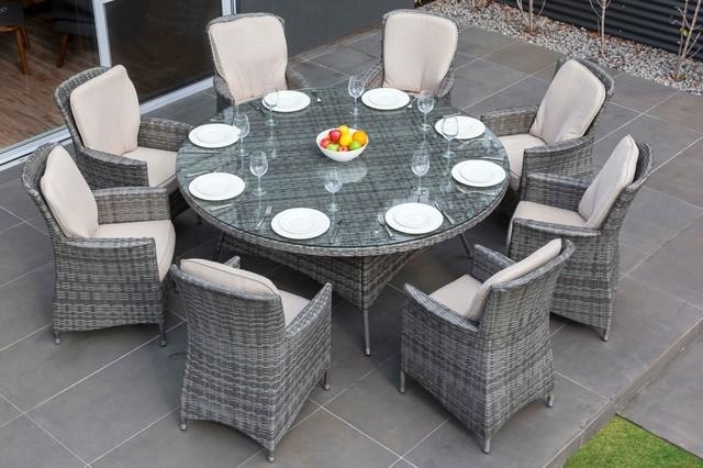 Wicker Outdoor Dining Set Round | Target Patio Decor With Regard To 8 Seat Outdoor Dining Tables (Image 20 of 20)