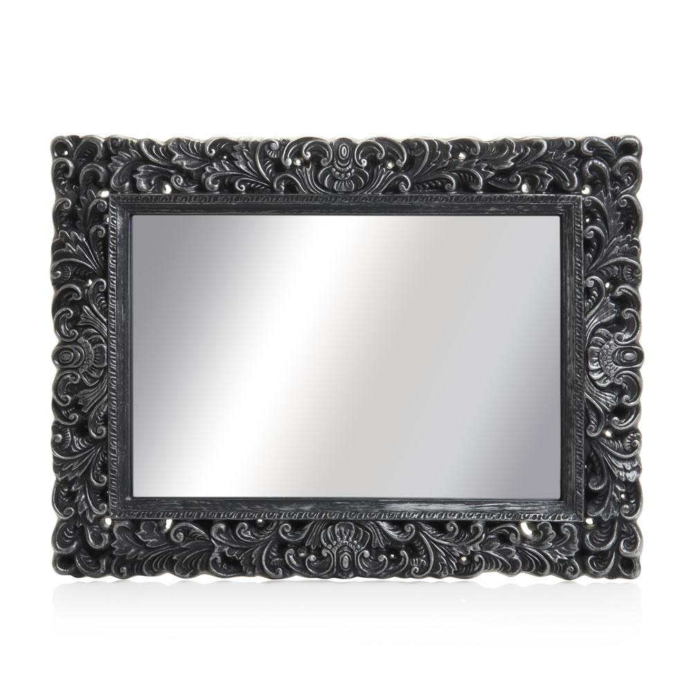 Wilko Ornate Mirror Large Black 60 X 80Cm At Wilko With Large Black Mirror (Image 20 of 20)