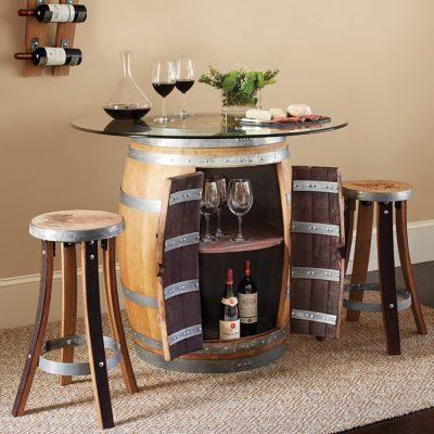 Wine Barrel Furniture Ideas You Can Diy Or Buy (135 Photos!) Inside Dining Tables With Attached Stools (Image 20 of 20)