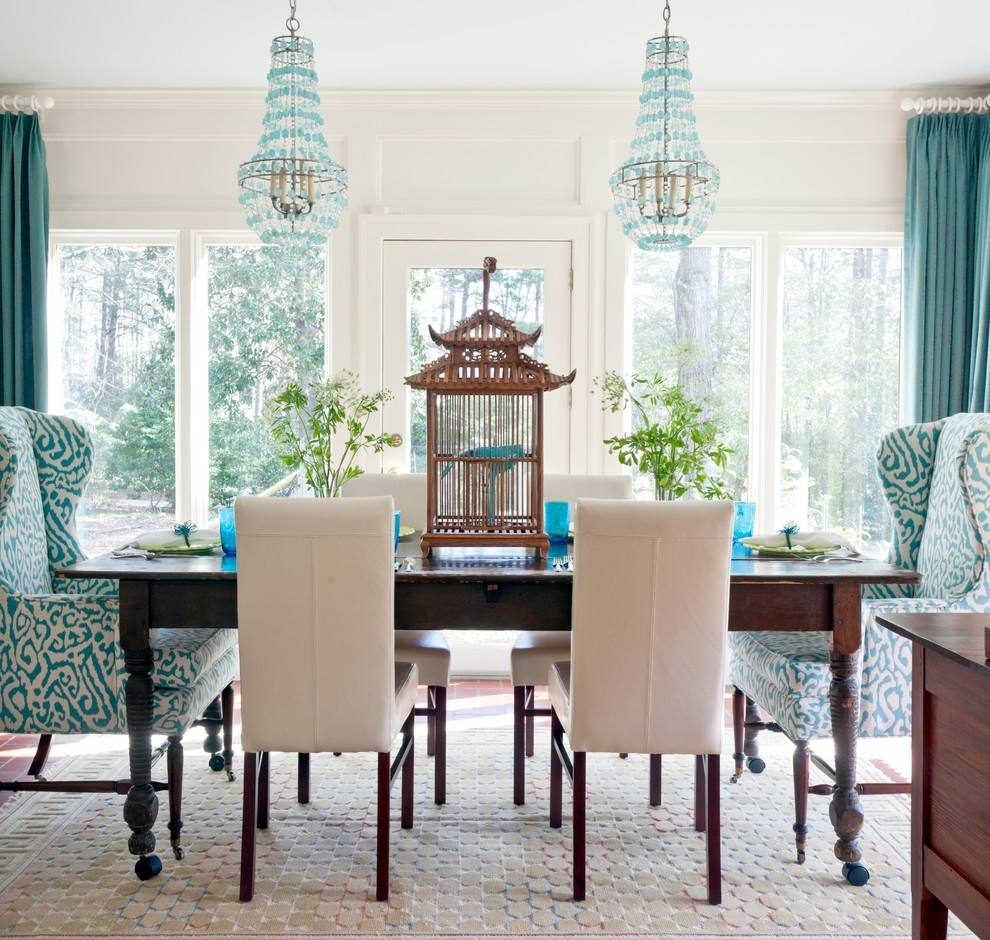 Wing Back Chairs Dining Room Eclectic With Arteriors Birdcage Within Chinoiserie Chandeliers (Image 25 of 25)
