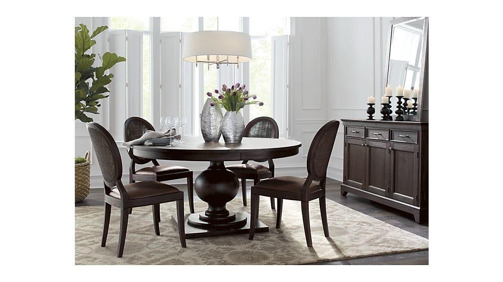 "Winnetka 60"" Round Dark Mahogany Extendable Dining Table | Crate For Dark Round Dining Tables (View 20 of 20)"