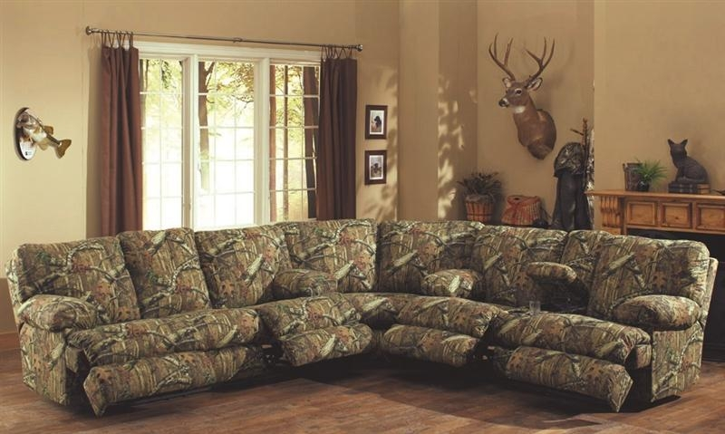 Wintergreen Reclining Sofa In Mossy Oak Camouflage Fabric In Camo Reclining Sofas (View 4 of 20)