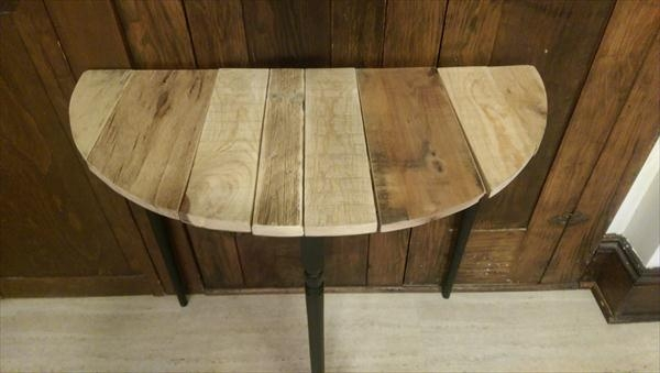 Wonderful Best Half Circle Coffee Tables With Regard To Diy Half Circle Pallet Table Side Table 101 Pallets (Photo 15 of 40)