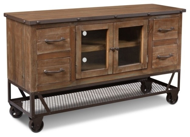 Wonderful Best Industrial Style TV Stands Intended For Rustic Industrial Style 55 Tv Stand Industrial Entertainment (View 4 of 50)