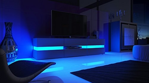 Wonderful Best TV Stands With LED Lights Pertaining To Tv Unit Cabinet Flow Carcass In Black Matt Front In Black High (Image 44 of 50)