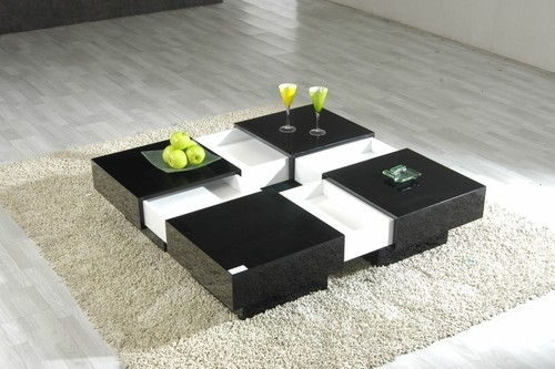 Wonderful Brand New Corner Coffee Tables In Modern Lacquer Coffee Table Furniture In Black Features Square (View 40 of 50)