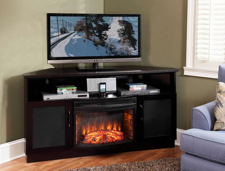 Wonderful Brand New Dark Brown Corner TV Stands Regarding Tv Stands Glamorous Electric Corner Fireplace Tv Stand (View 22 of 50)