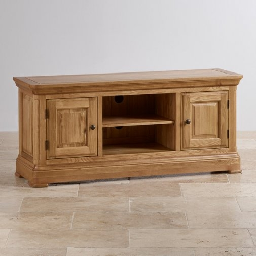 Wonderful Brand New Large Oak TV Cabinets With Canterbury Tv Cabinet Solid Oak Oak Furniture Land (Image 46 of 50)