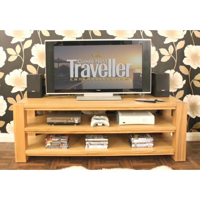 Wonderful Brand New Wide Screen TV Stands For Buy Villa Light Oak Open Shelf Widescreen Tv Cabinet Chic Furniture (Image 47 of 50)