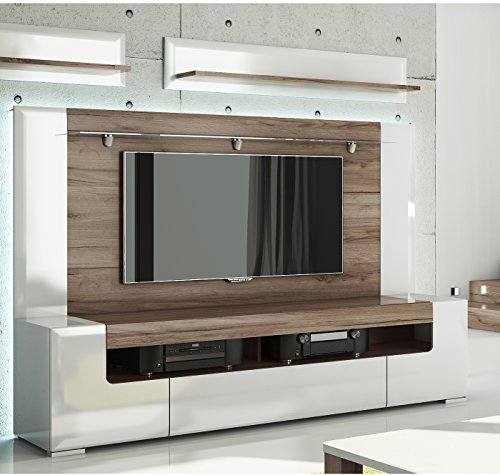 Wonderful Common 84 Inch TV Stands Pertaining To Toronto Tv Cabinet With Wall Panel Large Living Room (Image 45 of 50)