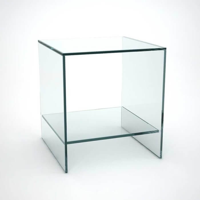 Wonderful Common All Glass Coffee Tables Within Judd Smoked Glass Side Table With Shelves Klarity Glass (Image 45 of 50)