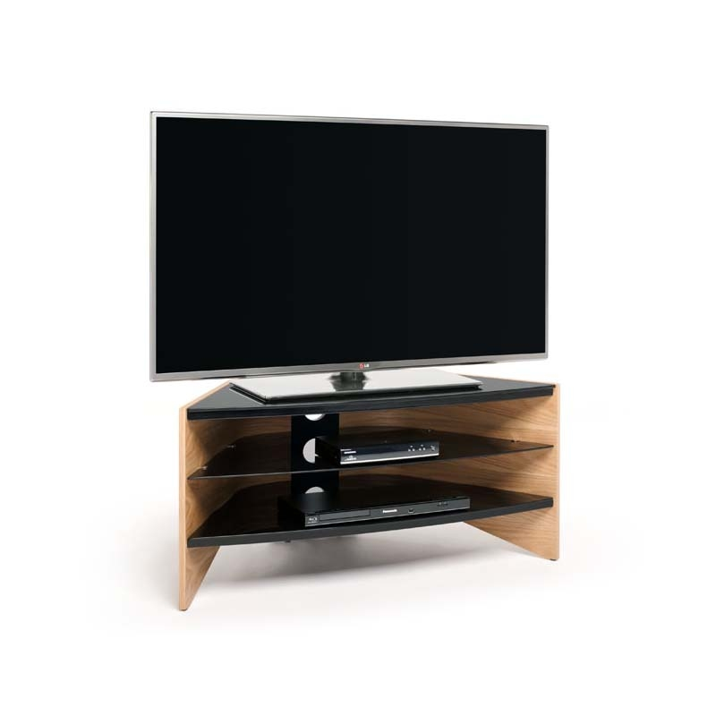 Wonderful Common Glass And Oak TV Stands Within Techlink Riva Series 50 In Corner Tv Stand Light Oak And Black (View 47 of 50)