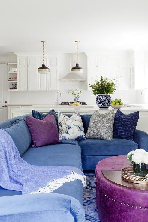 Wonderful Common Purple Ottoman Coffee Tables Throughout Blue Velvet Sectional With Purple Oval Ottoman Coffee Table (Image 38 of 40)