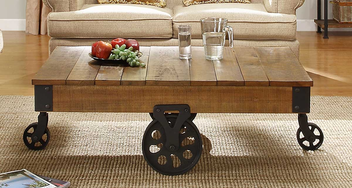 Wonderful Common Rustic Coffee Table With Wheels Throughout Rustic Coffee Table With Wheels (Image 48 of 50)