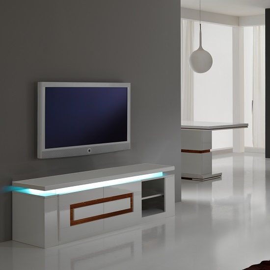 Wonderful Deluxe Acrylic TV Stands Regarding Garde Tv Stand In White Gloss And Walnut With Lights  (Image 45 of 50)