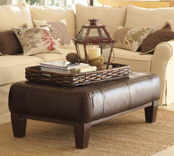 Wonderful Deluxe Brown Leather Ottoman Coffee Tables Throughout Coffee Table Interesting Leather Coffee Table Ottoman Black (View 15 of 50)