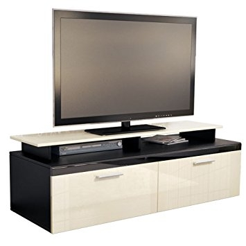 Wonderful Deluxe Cream Gloss TV Stands Inside Tv Stand Unit Atlanta Carcass In Black Matt Front In Cream High (Image 49 of 50)