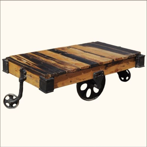 Wonderful Deluxe Rustic Coffee Table With Wheels For Rustic Coffee Table With Wheels (Image 49 of 50)
