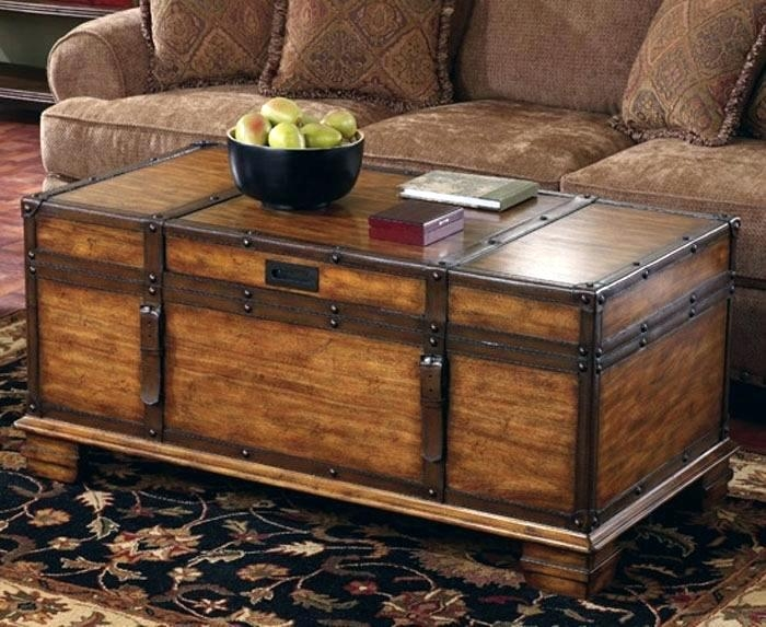 Wonderful Deluxe Stainless Steel Trunk Coffee Tables Regarding Steamer Trunks As Coffee Tables Dealhackrco (View 44 of 50)