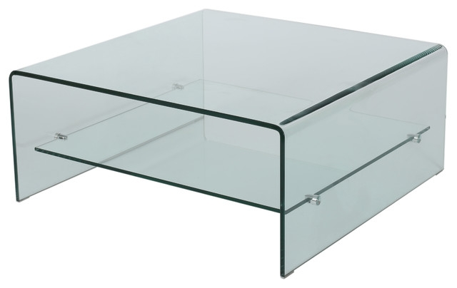 Wonderful Elite Rectangle Glass Coffee Table Pertaining To Classon Square Glass Coffee Table With Shelf Contemporary (View 46 of 50)