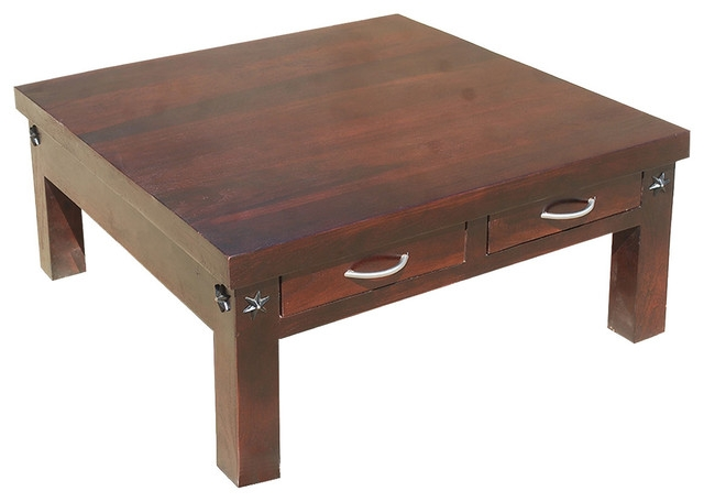 Wonderful Elite Square Coffee Tables With Drawers For 35 Amish Rosewood Square Coffee Table With 2 Drawers Rustic (View 40 of 40)