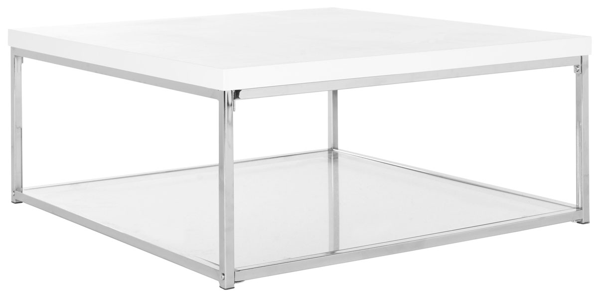 Wonderful Elite White And Chrome Coffee Tables Regarding Fox2214a Coffee Tables Furniture Safavieh (Image 48 of 50)