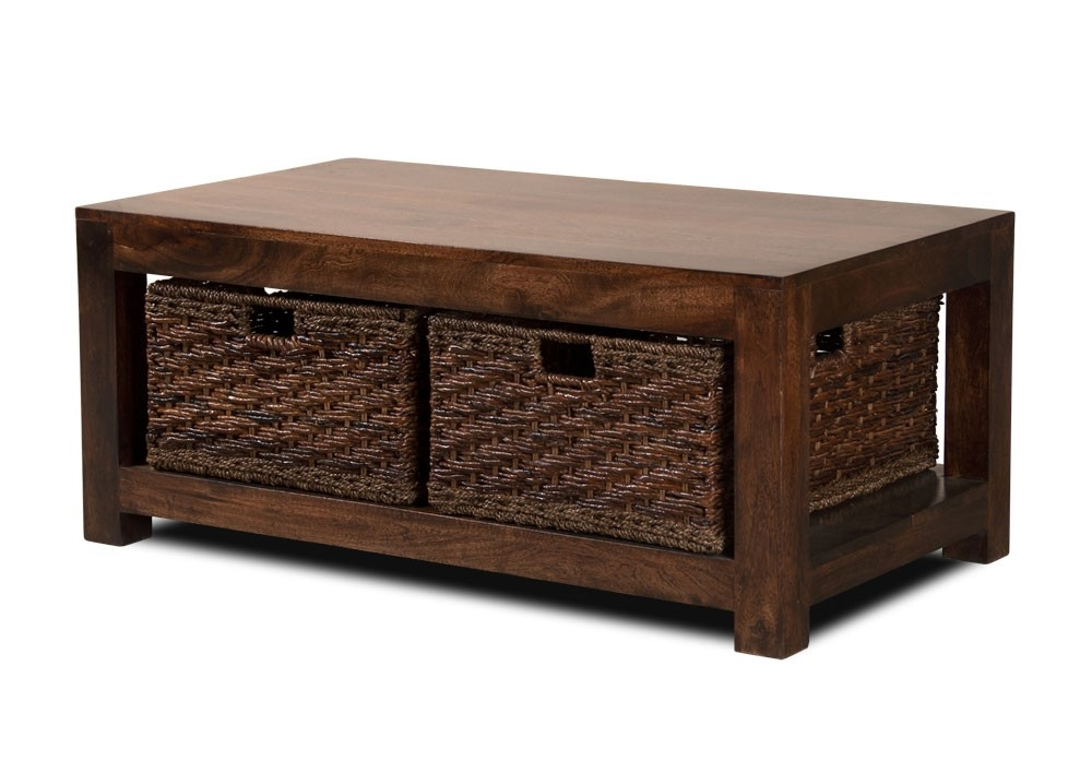 Wonderful Famous Dark Mango Coffee Tables With Regard To Dakota Dark Mango Large Coffee Table With Baskets Casa Bella (Image 37 of 40)