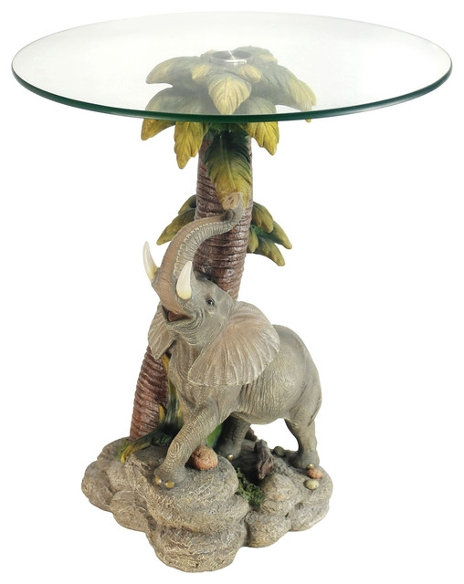 Wonderful Famous Elephant Glass Top Coffee Tables Within 24 Glass Top Elephant End Table Tropical Side Tables And End (Image 47 of 50)
