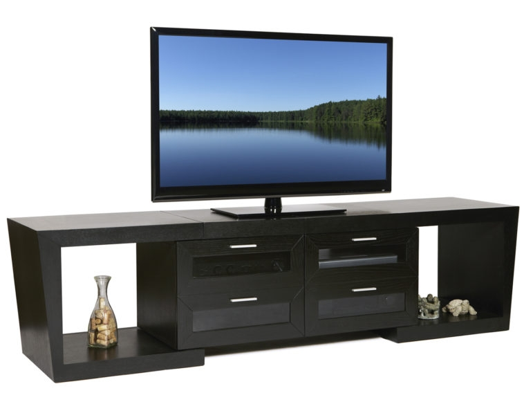 Wonderful Famous Long TV Stands Furniture In Furniture Black Wooden Media Center With Open Shelf And Storage (Image 48 of 50)