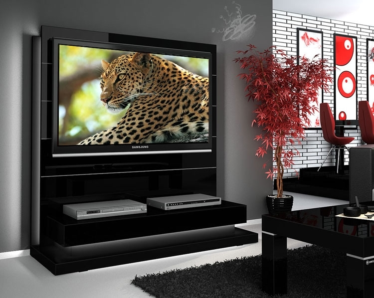 Wonderful Famous Red Gloss TV Stands Regarding Tv Stands Black Color Modern Tv Stands For Flat Screens (View 37 of 50)