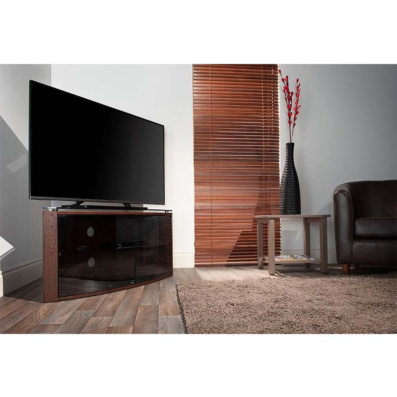 Wonderful Famous Techlink Bench Corner TV Stands Throughout Techlink Bench Corner 55 Inch Tv Stand Dark Oak With Smoked Glass (Image 46 of 50)