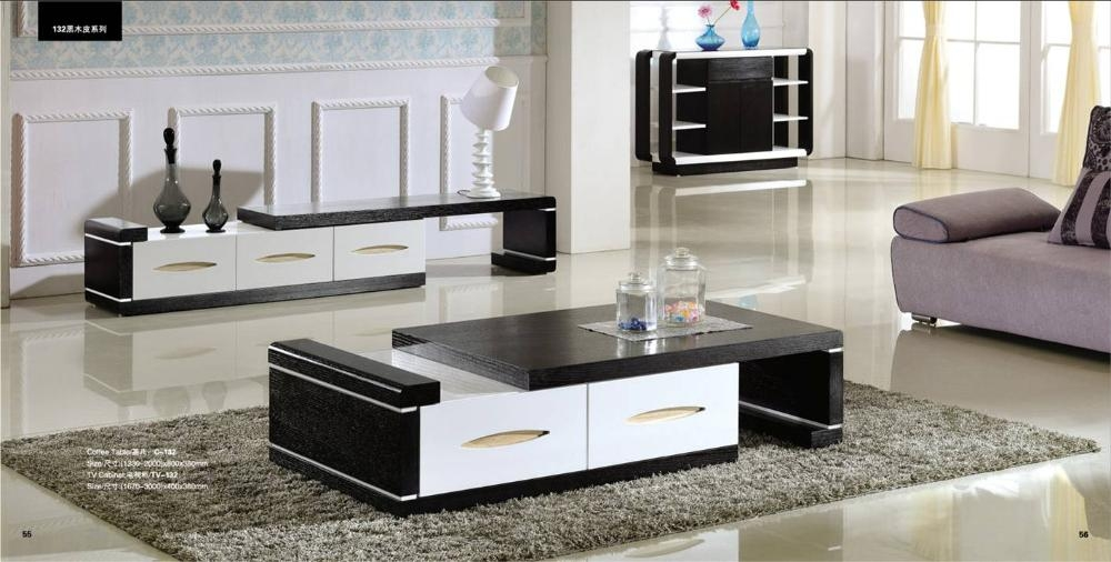 Wonderful Famous TV Cabinets And Coffee Table Sets Throughout Modern Balck Wood Furniture Tea Coffee Table Tv Cabinet Set Smart (Image 47 of 50)