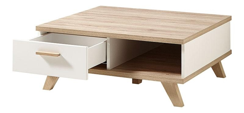 Wonderful Famous White And Oak Coffee Tables In Germania Oslo Modern Oak And White Coffee Table With Drawer (Image 46 of 50)