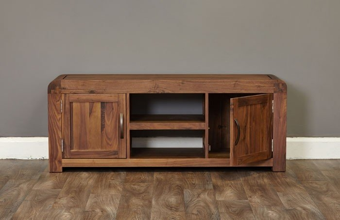 Wonderful Famous Widescreen TV Cabinets Within Baumhaus Shiro Walnut Widescreen Television Cabinet Cdr09b (View 24 of 50)