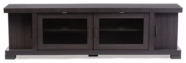 Wonderful Fashionable Black TV Stands With Glass Doors In Viveka 70 Inch Dark Brown Wood Tv Cabinet 2 Glass Doors 2 Doors (Image 44 of 50)