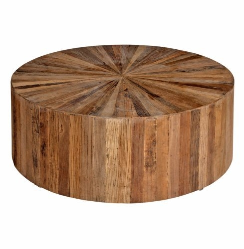 Wonderful Fashionable Cheap Oak Coffee Tables Throughout Coffee Table Cyrano Reclaimed Wood Solid Round Drum Modern Eco (View 30 of 50)