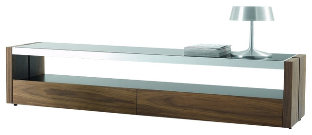 Wonderful Fashionable Modern Glass TV Stands Intended For Trieste Tv Stand Matte Walnut With Black Glass Top Modern (Photo 8 of 50)