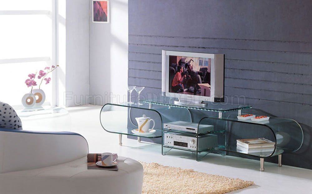 Wonderful Fashionable Modern Glass TV Stands With Clear Glass Modern Tv Stand Wstorage Shelves (Image 46 of 50)