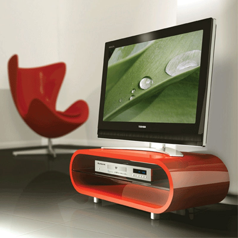 Wonderful Fashionable Techlink Corner TV Stands Inside Techlink Ovid Flat Screen Tv Stand For Screens Up To 50 In Red (View 41 of 50)