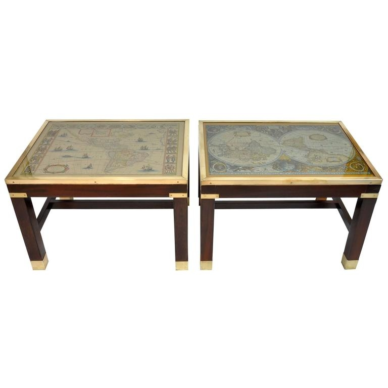 Wonderful Favorite Campaign Coffee Tables With Regard To Pair Of Vintage Campaign Style End Tables With Maps Under Glass At (Image 46 of 50)
