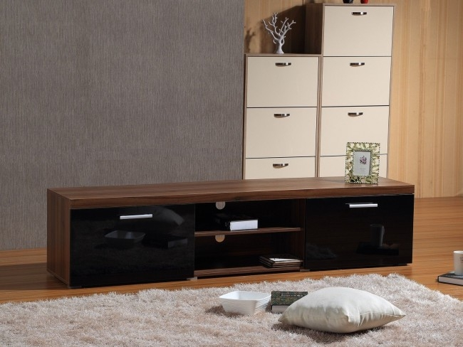 Wonderful Favorite Modern Walnut TV Stands Throughout Modern Large 2m Tv Stand Cabinet Unit With High Gloss Doors Black (Image 48 of 50)