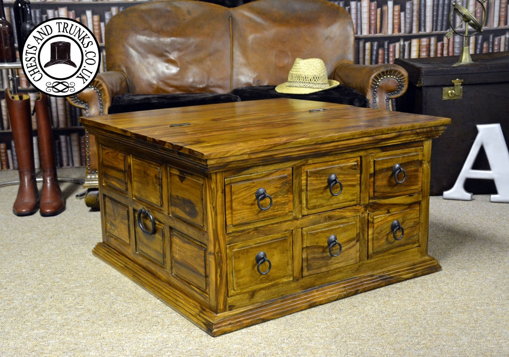 Wonderful Favorite Square Chest Coffee Tables Regarding Square Coffee Table Chest With Drawers Chests Trunks (View 10 of 50)
