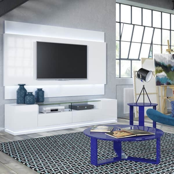 Wonderful Favorite TV Stands With LED Lights Pertaining To Manhattan Comfort Vanderbilt Tv Stand And Lincoln 22 Floating (Image 46 of 50)