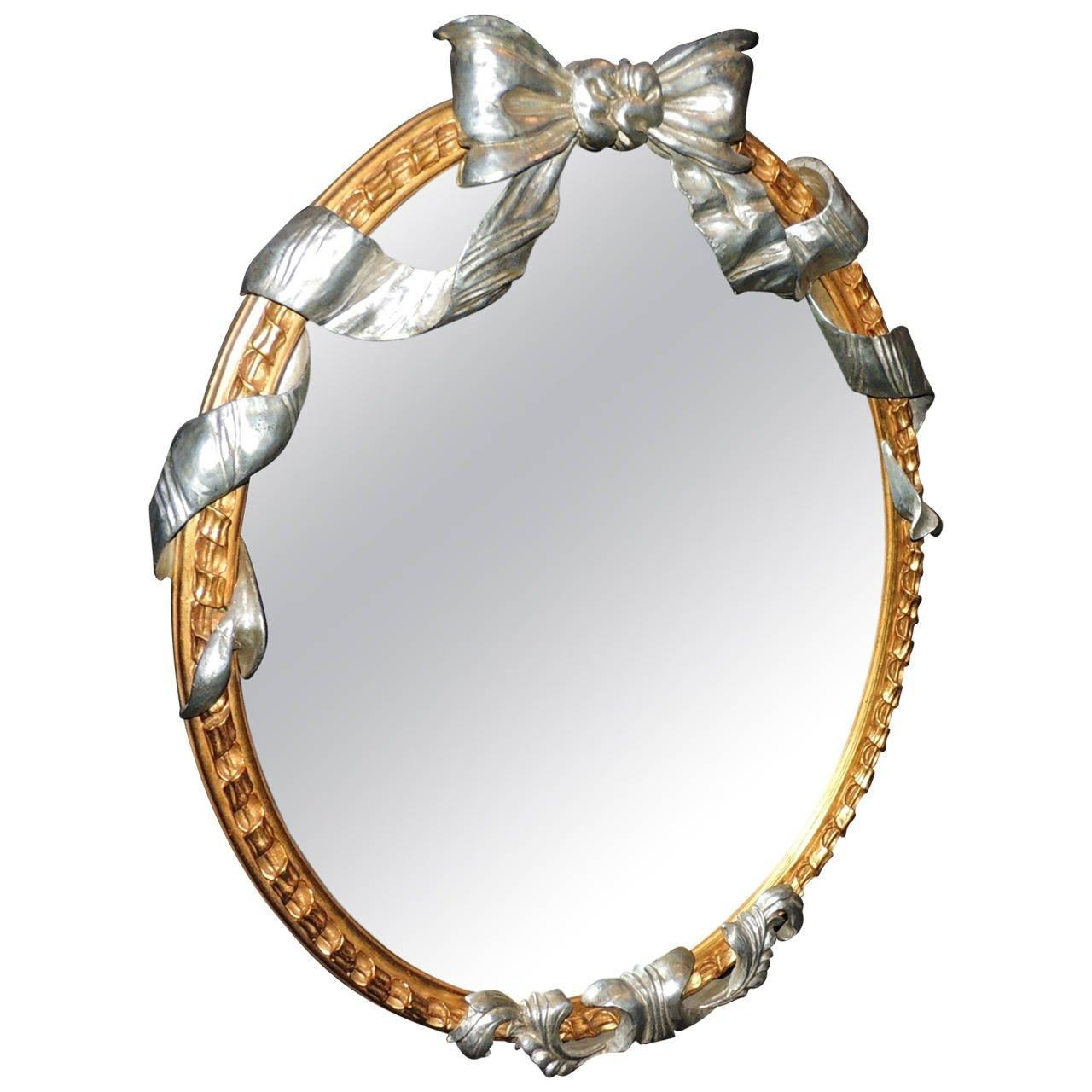 Wonderful French Oval Giltwood Mirror With Silver Leaf Bow And For Oval Silver Mirror (View 13 of 20)